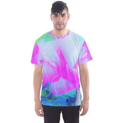 Abstract Pink Hibiscus Bloom With Flower Power Men s Sports Mesh Tee by myrubiogarden