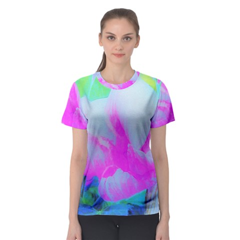 Abstract Pink Hibiscus Bloom With Flower Power Women s Sport Mesh Tee by myrubiogarden