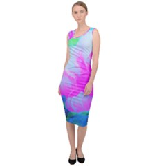 Abstract Pink Hibiscus Bloom With Flower Power Sleeveless Pencil Dress by myrubiogarden
