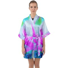 Abstract Pink Hibiscus Bloom With Flower Power Quarter Sleeve Kimono Robe by myrubiogarden