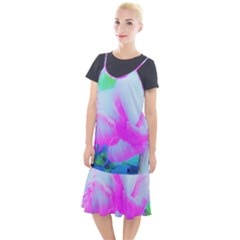 Abstract Pink Hibiscus Bloom With Flower Power Camis Fishtail Dress