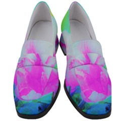 Abstract Pink Hibiscus Bloom With Flower Power Women s Chunky Heel Loafers