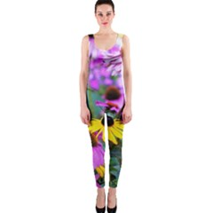 Yellow Flowers In The Purple Coneflower Garden One Piece Catsuit