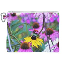Yellow Flowers In The Purple Coneflower Garden Canvas Cosmetic Bag (xxl) by myrubiogarden