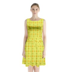 Traditional Patterns Chrysanthemum Sleeveless Waist Tie Chiffon Dress