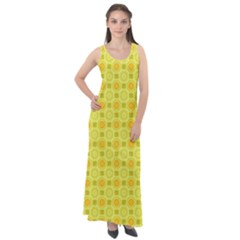 Traditional Patterns Chrysanthemum Sleeveless Velour Maxi Dress