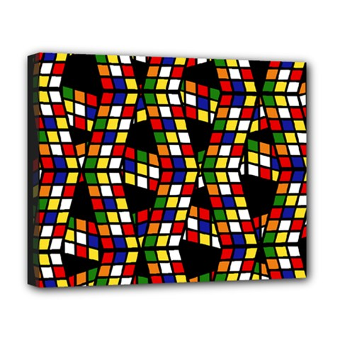 Graphic Pattern Rubiks Cube Cube Deluxe Canvas 20  X 16  (stretched) by Pakrebo