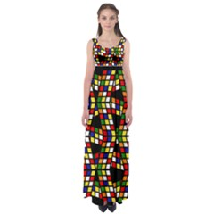 Graphic Pattern Rubiks Cube Cube Empire Waist Maxi Dress