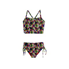 Graphic Pattern Rubiks Cube Cube Girls  Tankini Swimsuit