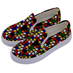 Graphic Pattern Rubiks Cube Cube Kids  Canvas Slip Ons by Pakrebo