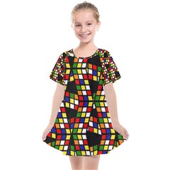 Graphic Pattern Rubiks Cube Cube Kids  Smock Dress