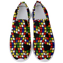 Graphic Pattern Rubiks Cube Cube Men s Slip On Sneakers
