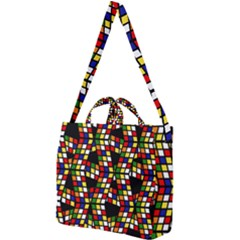 Graphic Pattern Rubiks Cube Cube Square Shoulder Tote Bag