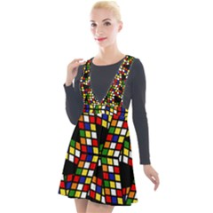 Graphic Pattern Rubiks Cube Cube Plunge Pinafore Velour Dress