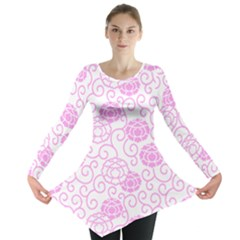 Peony Asia Spring Flowers Natural Long Sleeve Tunic