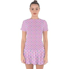 A Hexagonal Pattern Drop Hem Mini Chiffon Dress