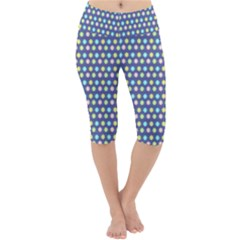 Deep Blue Hemp Pattern Flowers Lightweight Velour Cropped Yoga Leggings by Pakrebo
