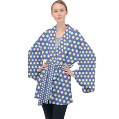 Deep Blue Hemp Pattern Flowers Velvet Kimono Robe