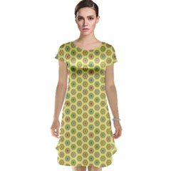 A Hexagonal Pattern Cap Sleeve Nightdress