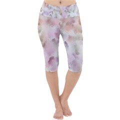 Abstract Watercolor Seamless Lightweight Velour Cropped Yoga Leggings
