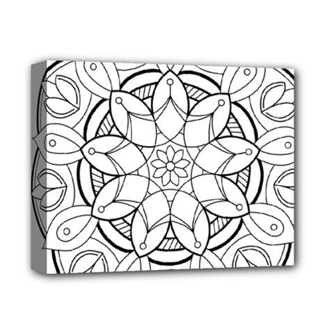 Mandala Drawing Dyes Page Deluxe Canvas 14  X 11  (stretched) by Pakrebo