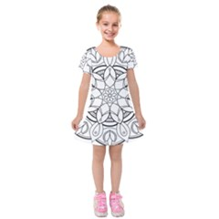 Mandala Drawing Dyes Page Kids  Short Sleeve Velvet Dress