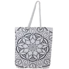 Mandala Drawing Dyes Page Full Print Rope Handle Tote (large)