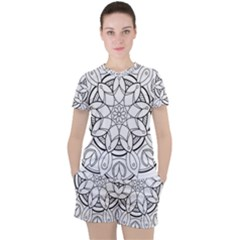 Mandala Drawing Dyes Page Women s Tee And Shorts Set