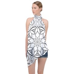 Mandala Drawing Dyes Page Halter Asymmetric Satin Top
