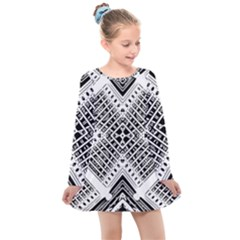 Pattern Tile Repeating Geometric Kids  Long Sleeve Dress by Pakrebo