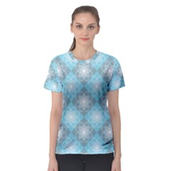 White Light Blue Gray Tile Women s Sport Mesh Tee
