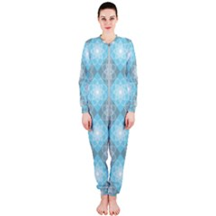 White Light Blue Gray Tile Onepiece Jumpsuit (ladies)