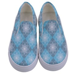 White Light Blue Gray Tile Kids  Canvas Slip Ons