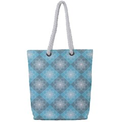 White Light Blue Gray Tile Full Print Rope Handle Tote (small)