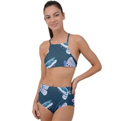 Butterfly Pattern Dead Death Rose High Waist Tankini Set by Pakrebo