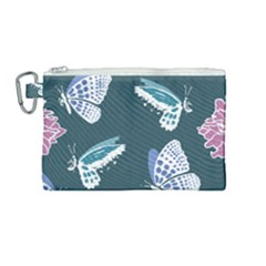 Butterfly Pattern Dead Death Rose Canvas Cosmetic Bag (medium)