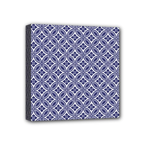 Wreath Differences Indigo Deep Blue Mini Canvas 4  X 4  (stretched)