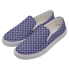 Wreath Differences Indigo Deep Blue Men s Canvas Slip Ons by Pakrebo