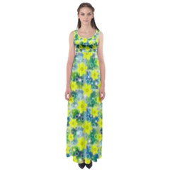 Narcissus Yellow Flowers Winter Empire Waist Maxi Dress