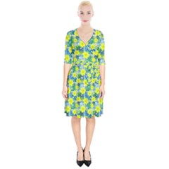 Narcissus Yellow Flowers Winter Wrap Up Cocktail Dress