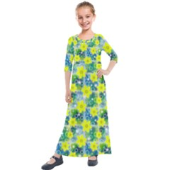 Narcissus Yellow Flowers Winter Kids  Quarter Sleeve Maxi Dress