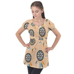 Dreamcatcher Pattern Pen Background Puff Sleeve Tunic Top