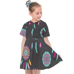 Dreamcatcher Seamless American Kids  Sailor Dress by Pakrebo