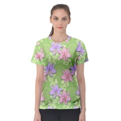 Lily Flowers Green Plant Natural Women s Sport Mesh Tee