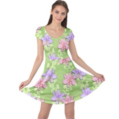 Lily Flowers Green Plant Natural Cap Sleeve Dress by Pakrebo