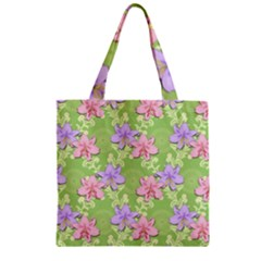 Lily Flowers Green Plant Natural Zipper Grocery Tote Bag by Pakrebo