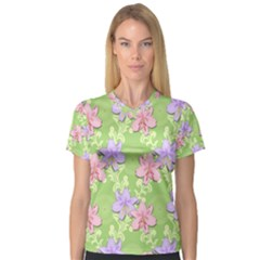 Lily Flowers Green Plant Natural V Neck Sport Mesh Tee