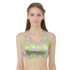 Lily Flowers Green Plant Natural Sports Bra With Border