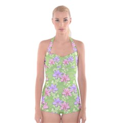 Lily Flowers Green Plant Natural Boyleg Halter Swimsuit  by Pakrebo