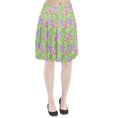 Lily Flowers Green Plant Natural Pleated Skirt
